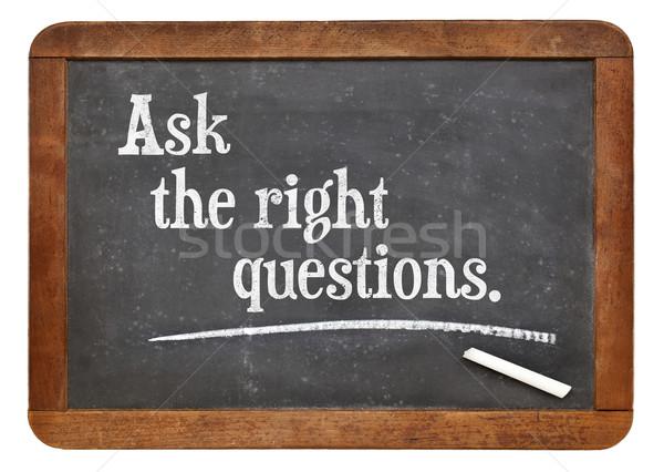 Perguntar direito perguntas motivacional conselho vintage Foto stock © PixelsAway