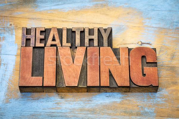 Здоровый образ жизни баннер древесины тип Vintage Сток-фото © PixelsAway