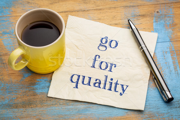 Qualità consiglio promemoria calligrafia tovagliolo Cup Foto d'archivio © PixelsAway