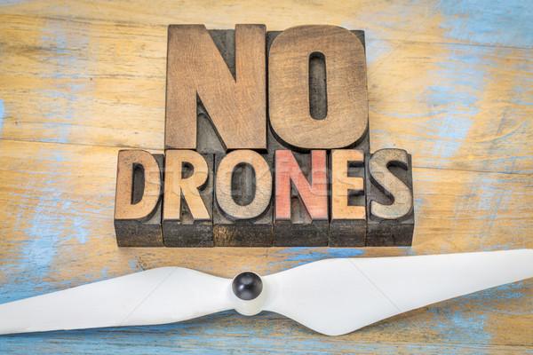 No drones sign or banner in wood type Stock photo © PixelsAway