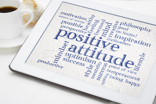 positive attitude word cloud on tablet Stock photo © PixelsAway