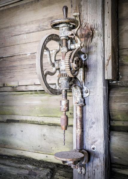 Vintage enferrujado manual vertical três de um tipo velho Foto stock © PixelsAway