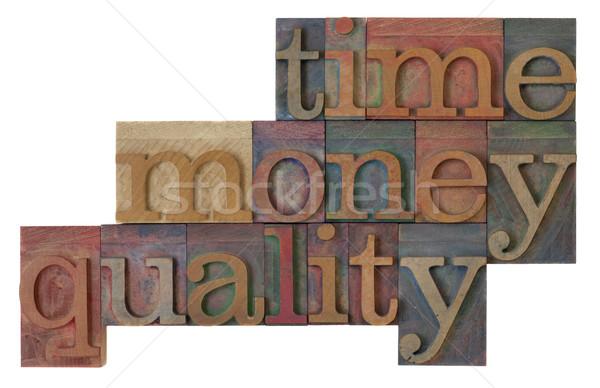 Tijd geld kwaliteit beheer strategie woorden Stockfoto © PixelsAway