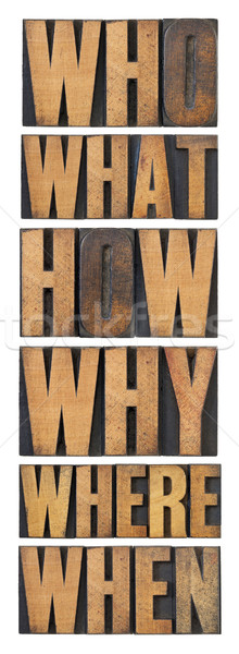 who, what, how, why, where, when, questions  - brainstorming or decision making concept - a collage  Stock photo © PixelsAway