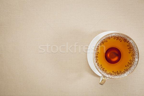 Antyczne kubek herbaty podwieczorek górę widoku Zdjęcia stock © PixelsAway