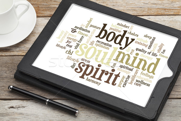 Mente corpo spirito anima word cloud digitale Foto d'archivio © PixelsAway