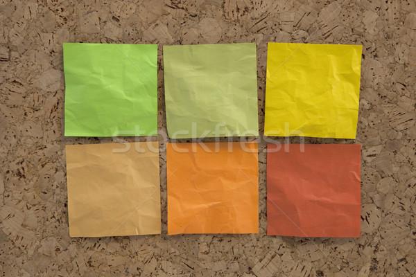 Sticky notes aarde kleuren zes groene bruin Stockfoto © PixelsAway