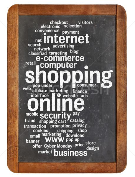 Stok fotoğraf: Alışveriş · çevrimiçi · kelime · bulutu · bağbozumu · tahta · yalıtılmış