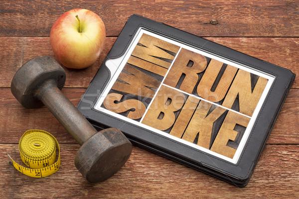 Correr bicicleta nadar fitness triathlon palavra Foto stock © PixelsAway