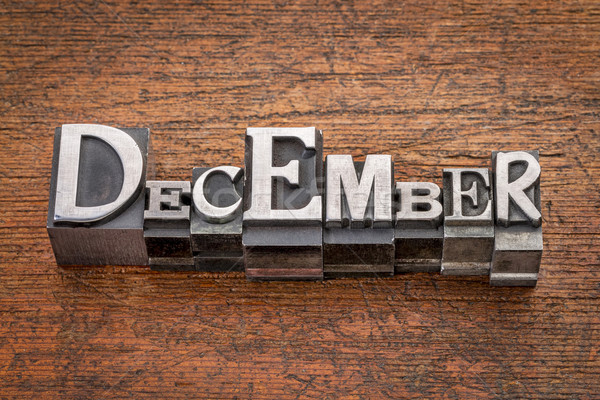 December hónap fém szó vegyes Stock fotó © PixelsAway