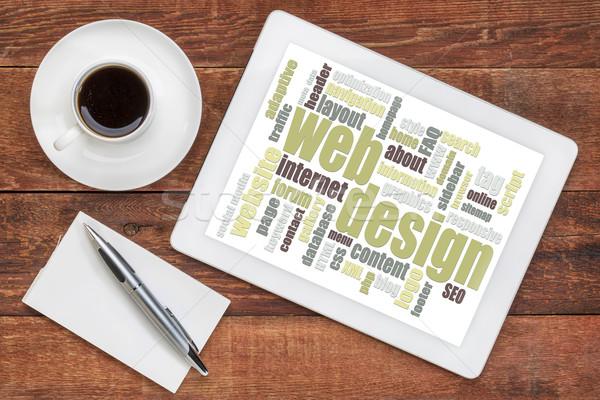 Web tasarım kelime bulutu tablet dijital fincan kahve Stok fotoğraf © PixelsAway