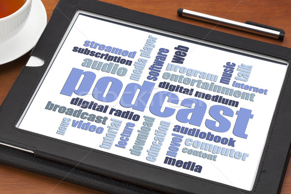 Podcast nuvem da palavra comprimido digital copo café Foto stock © PixelsAway