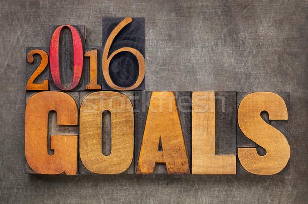 2016 goals in letterpress wood type Stock photo © PixelsAway