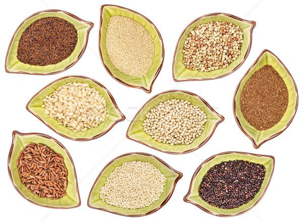 Stockfoto: Glutenvrij · graan · collectie · negen · zwarte