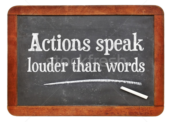 Spreken woorden spreekwoord witte krijt tekst Stockfoto © PixelsAway