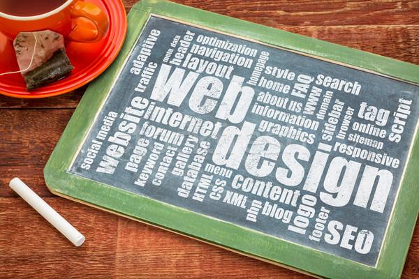 Web tasarım gelişme kelime bulutu beyaz tebeşir metin Stok fotoğraf © PixelsAway
