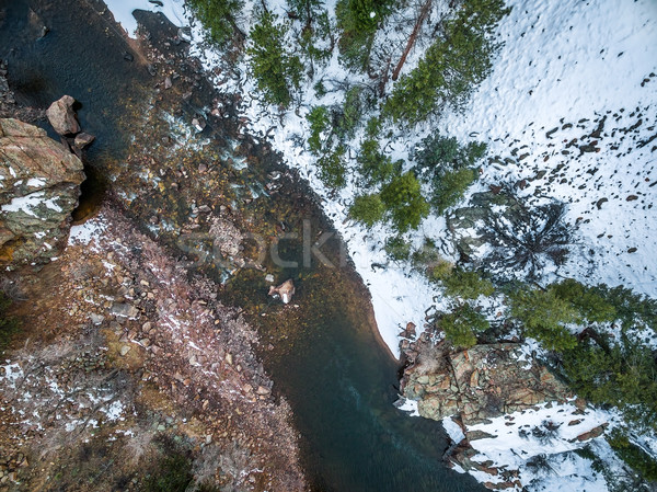 Stock photo: Poudre River Canyon aerial view