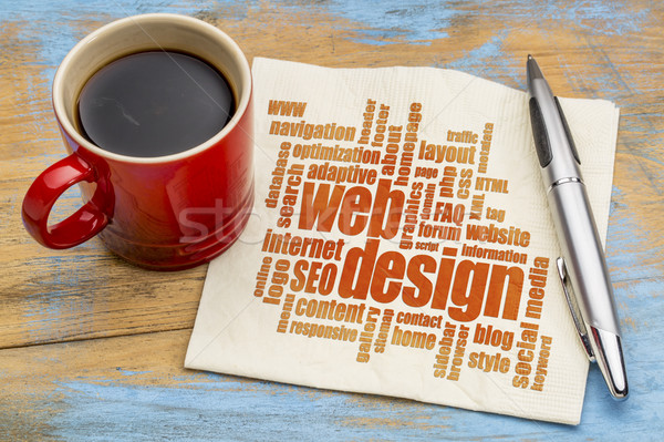 Web tasarım kelime bulutu peçete web web sitesi tasarımı fincan Stok fotoğraf © PixelsAway