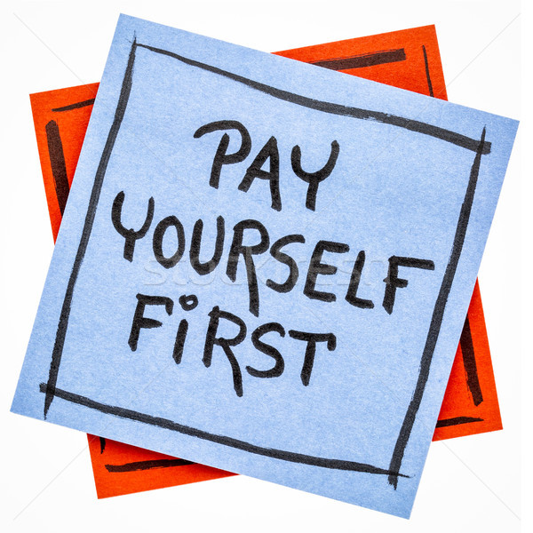 Illetmény magad első emlékeztető jegyzet személyes Stock fotó © PixelsAway
