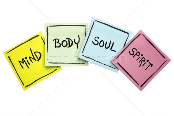 E corpo alma espírito nota pegajosa conjunto Foto stock © PixelsAway