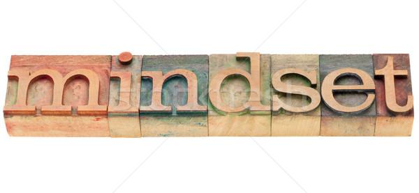 Gondolkodásmód szó izolált klasszikus fa magasnyomás Stock fotó © PixelsAway