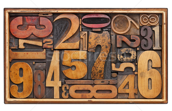antique wood number abstract Stock photo © PixelsAway
