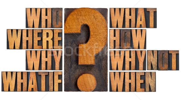 Preguntas madera tipo lluvia de ideas la toma de decisiones Foto stock © PixelsAway