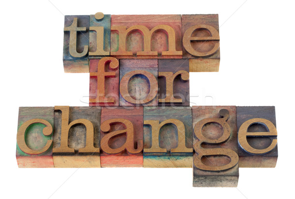 Temps changement titre mots vintage bois Photo stock © PixelsAway