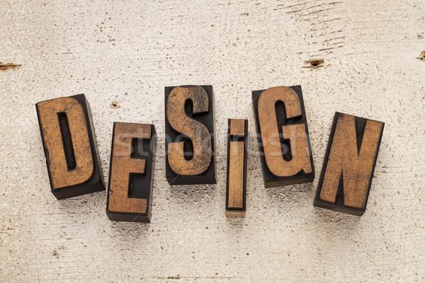 Stock photo: design word in wood type