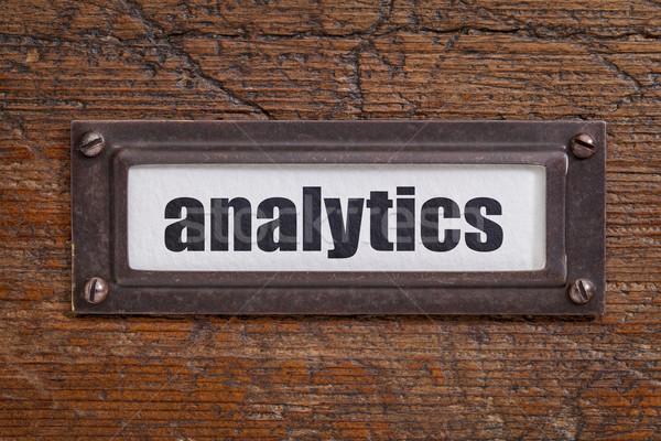 Analytics tag bestand kabinet label bronzen Stockfoto © PixelsAway