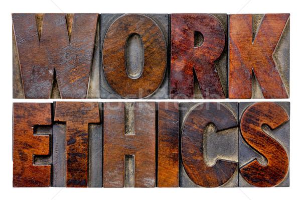 Lavoro etica parola abstract vintage Foto d'archivio © PixelsAway