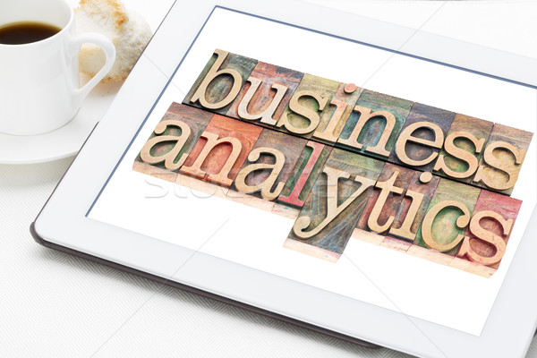 business analytics typography on tablet Stock photo © PixelsAway