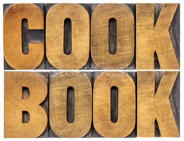 Libro de cocina palabra resumen madera tipo aislado Foto stock © PixelsAway