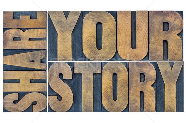 Stockfoto: Verhaal · woord · abstract · geïsoleerd · typografie · grunge