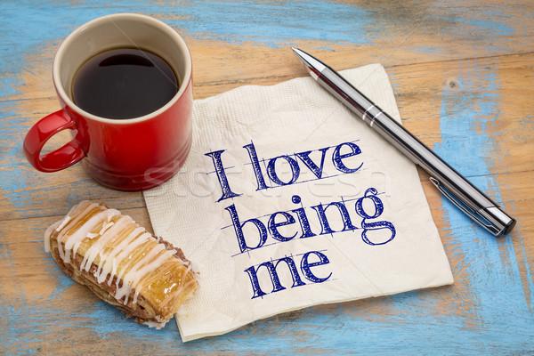 Stock photo: I love being me - napkin