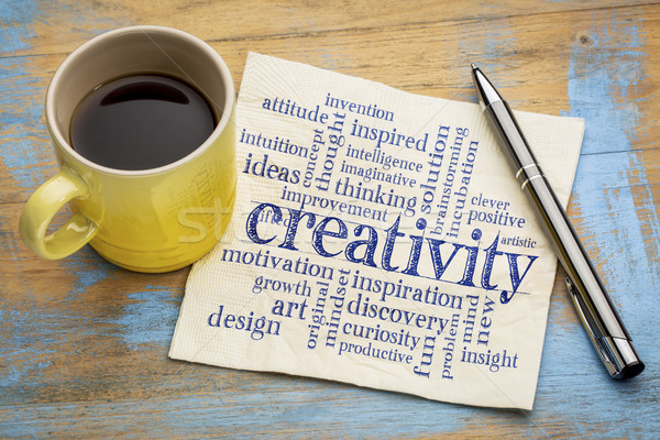 creativity word cloud on napkin Stock photo © PixelsAway