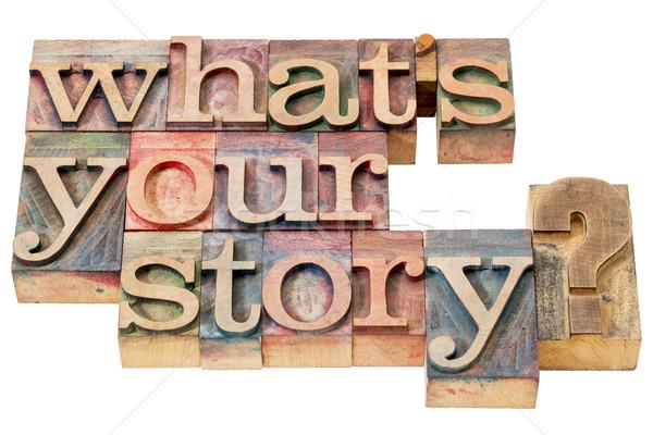 Mi történet kérdés magasnyomás fa Stock fotó © PixelsAway
