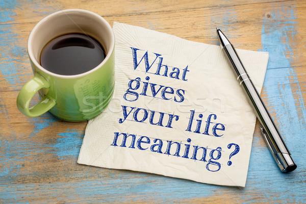 O que vida significado pergunta guardanapo copo Foto stock © PixelsAway