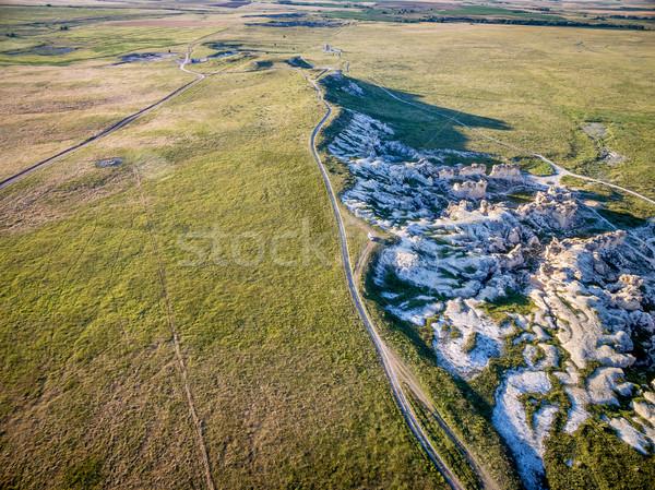 Kaya oluşumu Kansas kır çiftlik yollar kalker Stok fotoğraf © PixelsAway