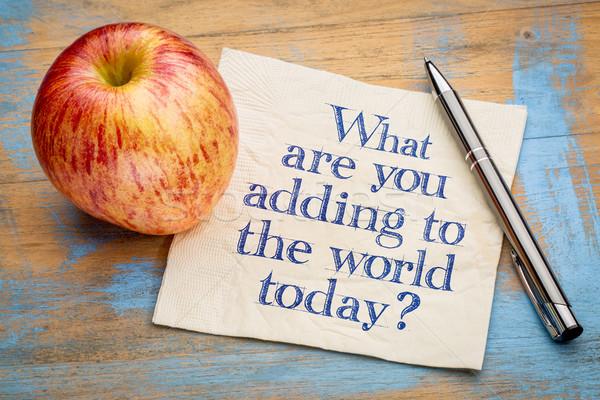 O que mundo hoje letra guardanapo fresco Foto stock © PixelsAway