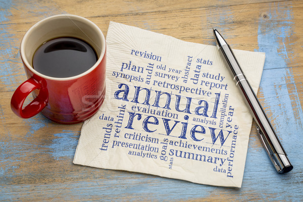annual review word cloud on napkin Stock photo © PixelsAway
