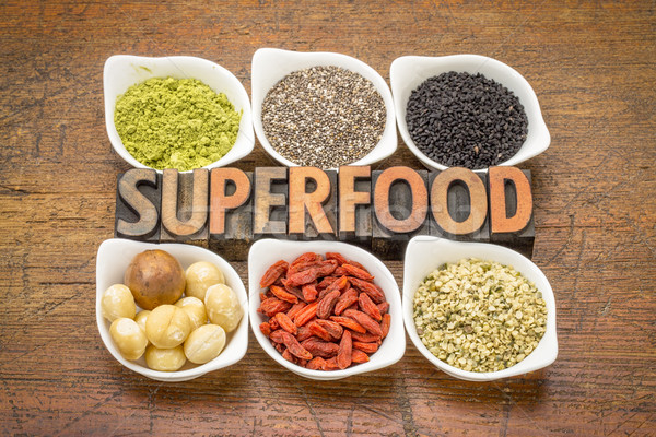 superfood collection with word in wood type Stock photo © PixelsAway