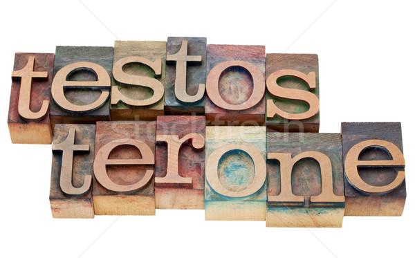 Testosteron woord geïsoleerd vintage hout Stockfoto © PixelsAway