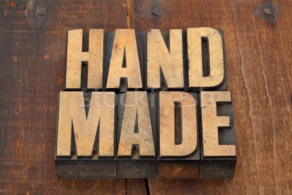 Stockfoto: Handgemaakt · type · woord · vintage · grunge