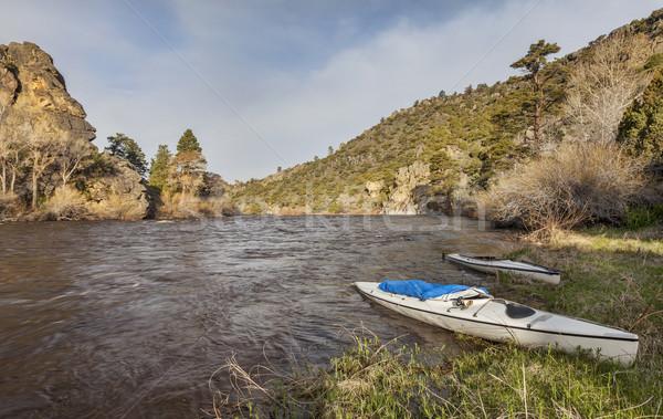 canoes on North Platte River Stock photo © PixelsAway