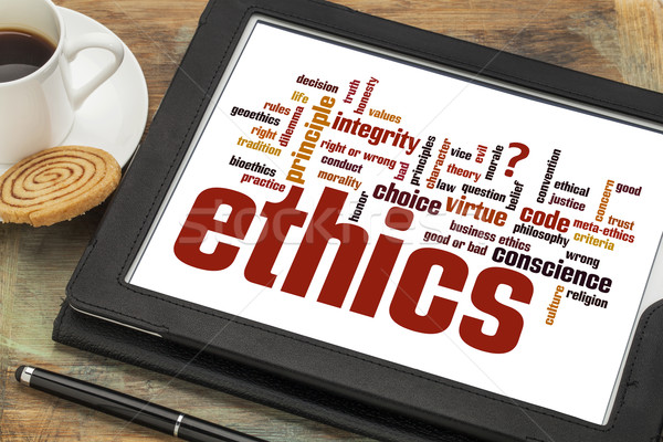 ethics word cloud on digital tablet Stock photo © PixelsAway
