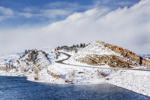 mountain lake and road in winter Stock photo © PixelsAway