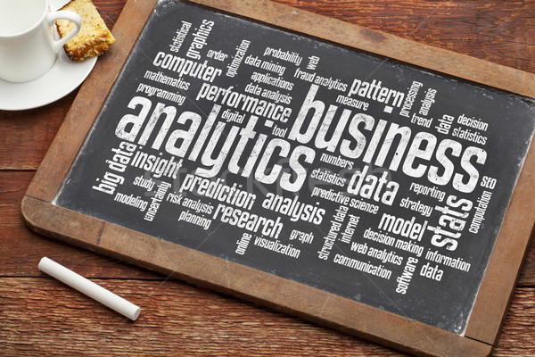 Business analytics woordwolk vintage computer hout Stockfoto © PixelsAway