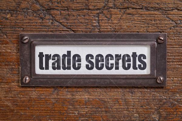Kereskedelem titkok címke szöveg akta faliszekrény Stock fotó © PixelsAway