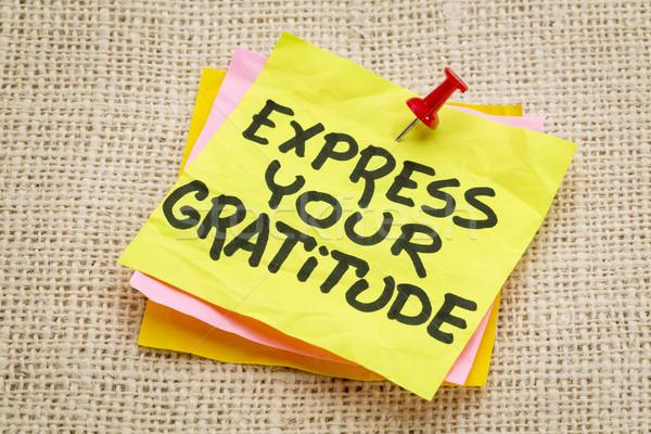 Dankbaarheid advies sticky note jute doek Stockfoto © PixelsAway